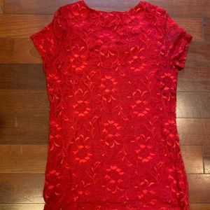 Isaac Mizrahi Tops - Lace blouse in red. In great condition!